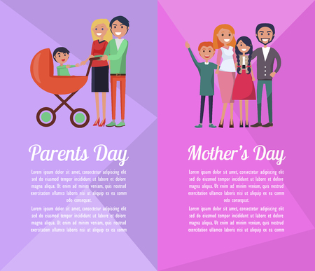 Set of Banners Devoted to Parents , Mother s Days Фото со стока - 87930250