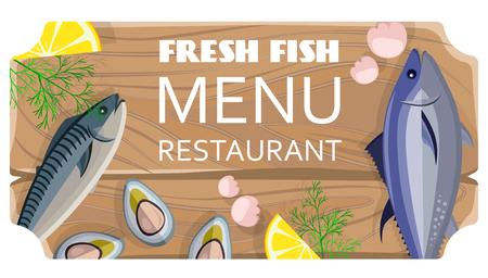 Fresh Fish Menu Restaurant met zeeproducten Stock Illustratie