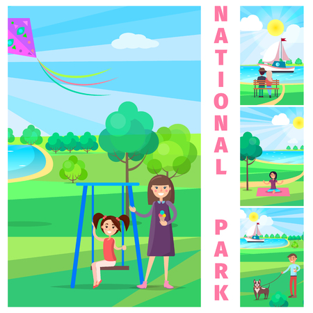 Mother near Daughter on Swing in National Park Illustration