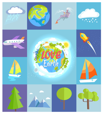 Love Earth Poster Made of Square Illustrations Illustration