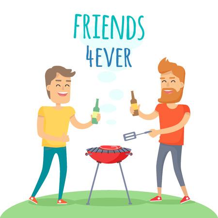 Zwei Mann gebratenes Fleisch auf Grill Freunden für immer Standard-Bild - 88526884