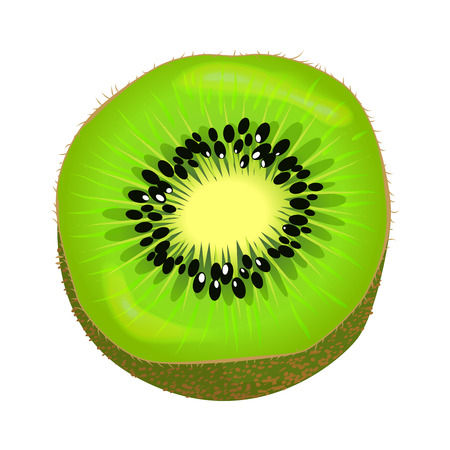 Fresh Kiwi Fruit Half Isolated Colourful Element