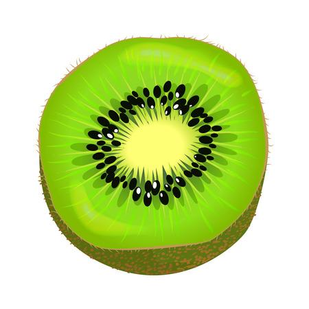 Fresh Kiwi Fruit Half Isolated Colourful Element