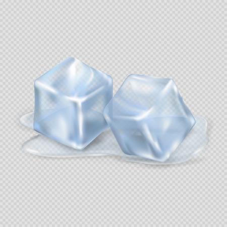 Dos cubos de hielo de fusión en fondo transparente