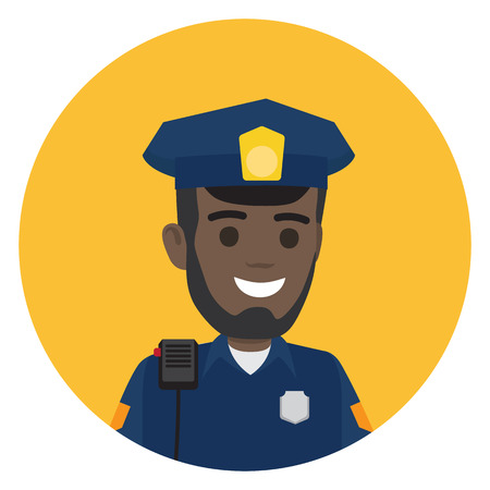 Black Police Officer with Radio Set on Shoulder Illustration