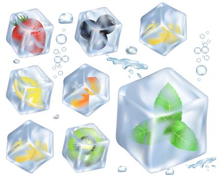 フルーツ、ベリー、氷イラストでハーブ  イラスト・ベクター素材