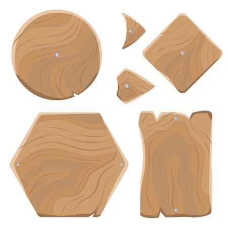 Wooden Planks of Various Shapes Illustrations Set Illusztráció