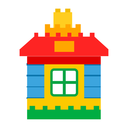 House Constructor Toy for Children Play Vector Illustration