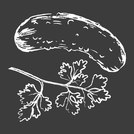 Cucumber and Parsley White Silhouettes on Black Illustration