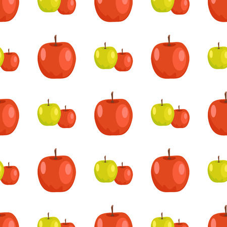 Red and Green Apples Seamless Pattern Tasty Fruits