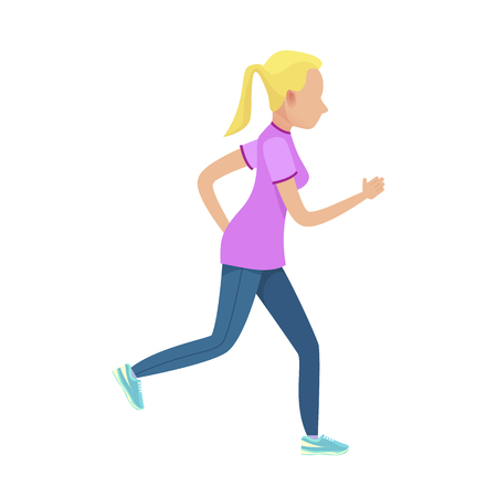 Young Blonde Girl in Slinky Sport Form Running Illustration