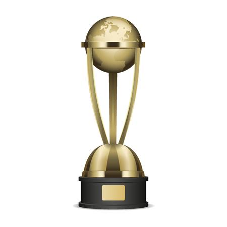 Gouden trofeekop met het grafische pictogram van de aarde Stock Illustratie