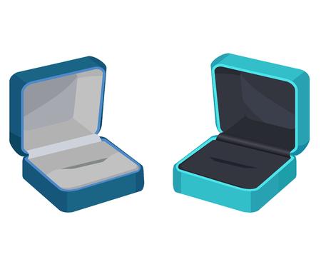 リングやイヤリングのための 2 つのギフト ボックスの概念  イラスト・ベクター素材