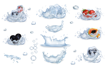 Water Splashes and Frozen Fruits and Berries Set 向量圖像