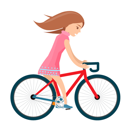 여름 옷을 입은 소녀는 자전거를 타고 흰색에 고립