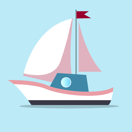 Boat with sails in white-pink color isolated on blue background Illustration