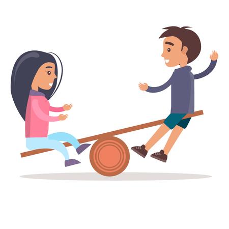 少女と少年ライドシーソー孤立イラスト  イラスト・ベクター素材