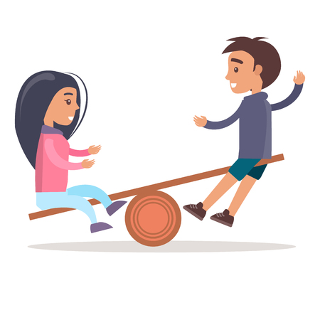 Girl and Boy Ride Seesaw Isolated Illustration