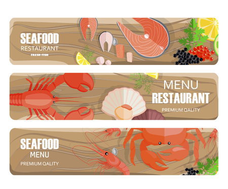 Seafood of Premium Quality Set on Wooden Board