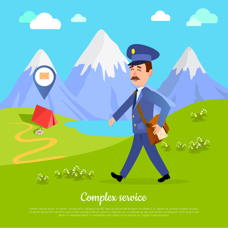 Complex Service to any Part of the World. Vector Illustration