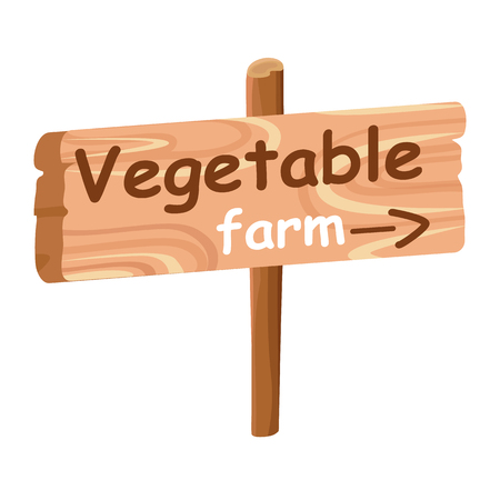 Wood Plaque with Direction Index to Vegetable Farm Çizim