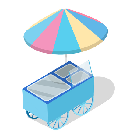 Street Cart Store with Freezer Isometric Vector