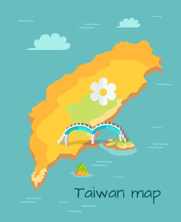 New Moon Bridge Marked on Taiwan Map Illustration