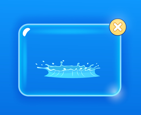 Blue Geyser flow of water from under earth hand drawing on navy background. Aqueous stream with splashes on glass screen with closing cross button. Vector illustration of hot spring flat design