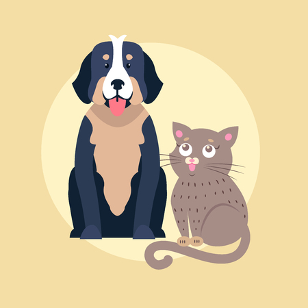 귀여운 개와 고양이 만화 플랫 벡터 아이콘