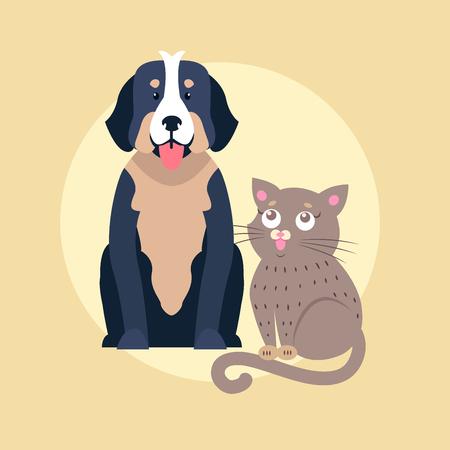 Cute Dog and Cat Cartoon Vector Flat Icon Foto de archivo - 88774564