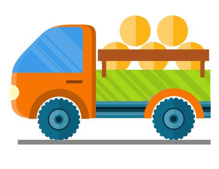 Auto met hooi in een aanhangwagen vectorillustratie