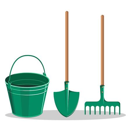 Gardening Bucket, Green Shovel and Rake on White Ilustração