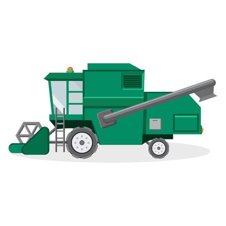 農夫イラストのコンバインハーベ スター グリーン  イラスト・ベクター素材