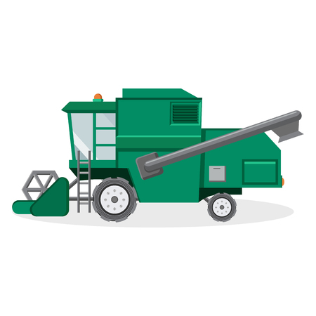 Green Combine Harvester for Farmers Illustration