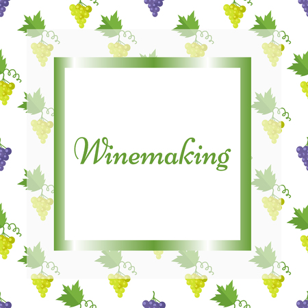 Winemaking Poster in Square Frame with Pattern