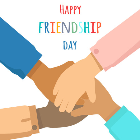 Happy Friendship Day Flat Vector Concept  イラスト・ベクター素材
