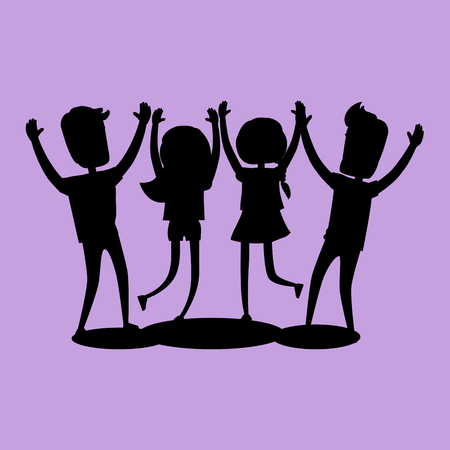 Company of Friends Gives High Five Silhouette Illustration