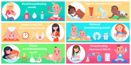 World Breastfeeding Month Promotional Posters Set