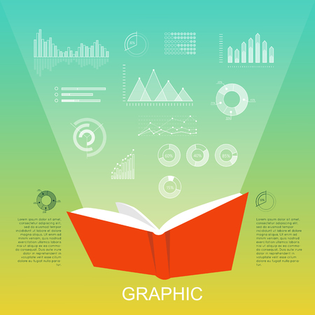 Open Red Book that Lighten Column Charts, Diagrams Illustration