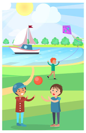 Kids Play with Ball in Public Park Vector Poster Illustration