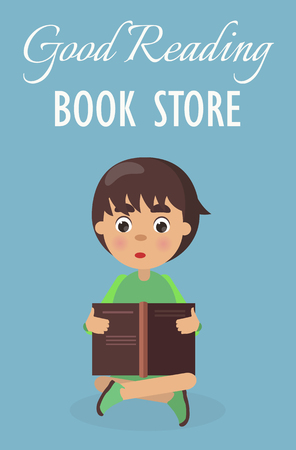Little Boy in Good Reading Book Store on Blue
