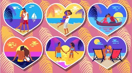 Summer Romance in Heart-Shaped Photos Poster. Çizim
