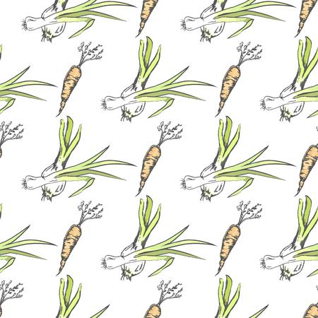 Crispy Carrot and Green Leek Seamless Pattern Illusztráció
