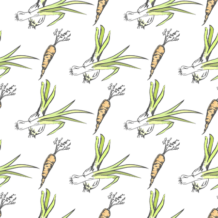 Crispy Carrot and Green Leek Seamless Pattern Illustration