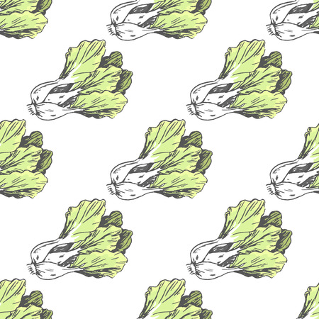 Green lettuce on white endless texture graphic vector illustration. Seamless pattern of healthy seasonal product for salads and sandwiches