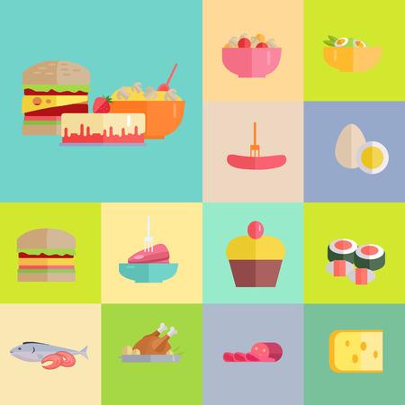 美味しいお食事セット  イラスト・ベクター素材