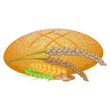 Wheat Bread Loaf with Cereal Sticks on White. Illustration