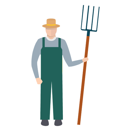 Farmer with a Pitchfork in Hat and Green Overalls