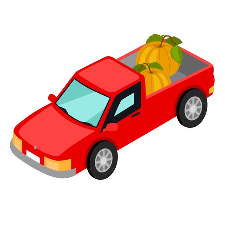 Rode pick-up truck met pompoenen illustratie.