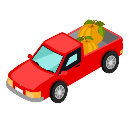 Red pick-up truck with pumpkins illustration.